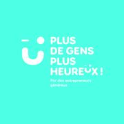 Logo plus de gens plus heureux fond bleu